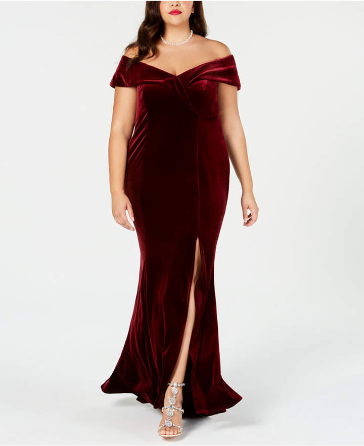 Xscape Evenings Plus Size Off-The-Shoulder Velvet Gown