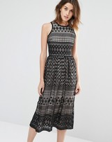 Warehouse Paneled Lace Midi Dress
