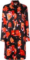 Marni pixel floral print shirt dress