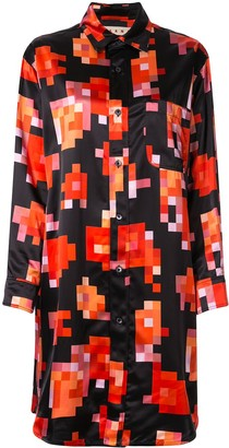 Marni Pixel Floral Print Shirt Dress