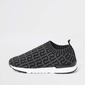 River Island Boys grey RI monogram runner trainers