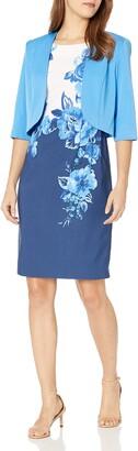 Maya Brooke Women's Petite Floral Pattern Colorblock Jacket Dress