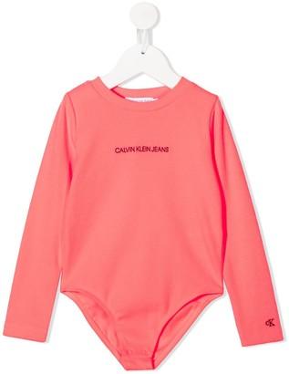 Calvin Klein Kids Ribbed Long-Sleeved Bodysuit