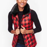 Talbots Down Faux Fur Collar Puffer Vest - Buffalo Plaid