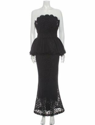 Dolce & Gabbana Lace Pattern Long Dress Blue