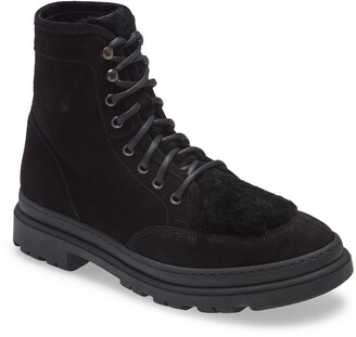 Aquatalia Tristian Lace-Up Boot with Genuine Shearling Trim