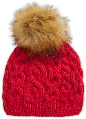 Etereo Faux Fur Pom-Pom Cable-Knit Beanie
