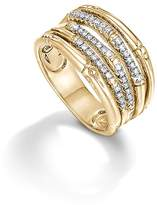 John Hardy Bamboo 18K Yellow Gold Diamond Pavé Wide Ring