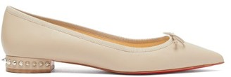 Christian Louboutin Hall Spike-embellished Leather Ballet Flats - Nude