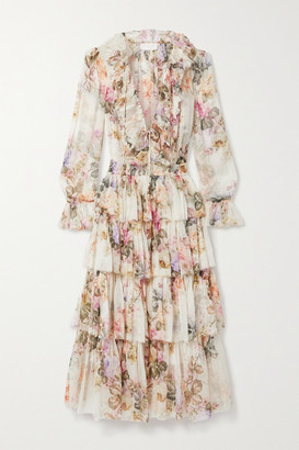Zimmermann Brighton Ruffled Floral-print Silk-crepon Midi Dress - Ivory