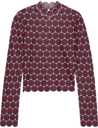Paco Rabanne Scalloped Metallic Jacquard-knit Top