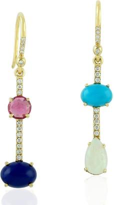 Artisan 18Kt Yellow Gold Drop Dangle Earring Lapis Opal Tourmaline Gemstone