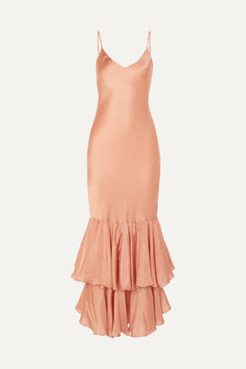 Mes Demoiselles Marmelade Ruffled Silk-satin Maxi Dress - Antique rose