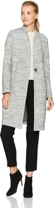 Kenneth Cole New York Women's Space Dyed Scuba Long Walker Jacket with Oversized Button