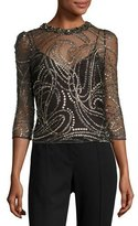 Jenny Packham Glitter Tulle 3/4-Sleeve Top, Black