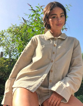 Emory Park oversized shirt in cream corduroy co-ord