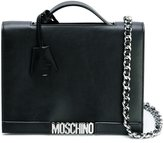 Moschino logo plaque shoulder bag - women - Leather - One Size
