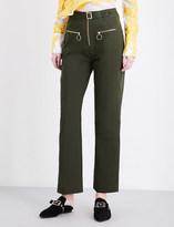 Self-Portrait Zip-front straight-leg stretch-cotton-canvas trousers