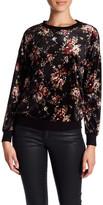 Bobeau Floral Print Velour Pullover Sweater (Petite)