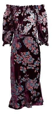 Saloni Grace Floral Velvet Off-The-Shoulder Dress
