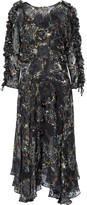Preen by Thornton Bregazzi Ermin Ruffle-trimmed Devoré Silk-blend Chiffon Midi Dress - Black