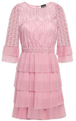 Just Cavalli Tiered Macrame Lace And Crochet-knit Mini Dress