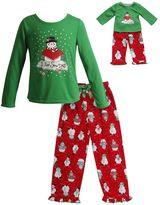 "Dollie & Me Girls 4-14 I Love Snow Days"" Snowman Pajama Set"