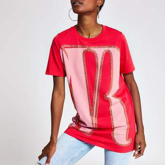 River Island Womens Red print oversized studded T-shirt