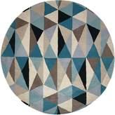 Rug Culture Modern Geo Wool Round Rug, Turquoise, 120x120cm