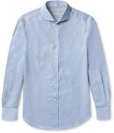 Brunello Cucinelli - Slim-fit Cutaway-collar Herringbone Cotton Shirt