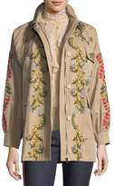 RED Valentino Floral-Vines Embroidered Cotton Jacket