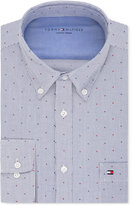 Tommy Hilfiger Men's Slim-Fit Comfort Wash Blue Stripe Dot Dress Shirt
