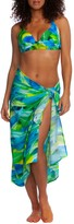 La Blanca Leaf-Print Pareo Wrap Skirt