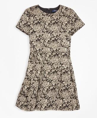 Brooks Brothers Girls Short-Sleeve Floral Jacquard Dress
