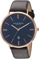 Akribos XXIV AK935RGBU Men's Quartz Metal and Leather Automatic Watch, Brown