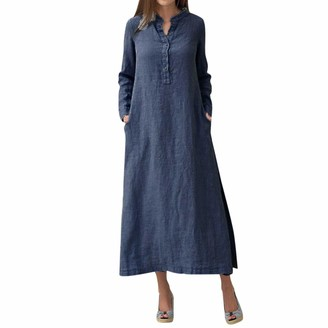 VJGOAL Womens Women's Kaftan Cotton Long Sleeve Plain Casaul Oversized Maxi Long Straight Shirt Dress(XXXL