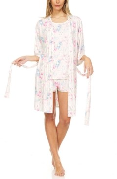 Flora By Flora Nikrooz Flora Women's Floral Printed 3pc Travel Pajama Set