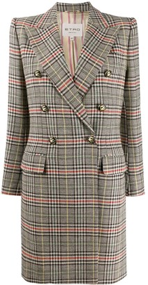 Etro Check Print Double Breasted Coat