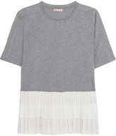 Marni Cotton-jersey And Tiered Pleated Poplin T-shirt - Gray