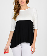 Bellino White & Black Color Block Hi-Low Top