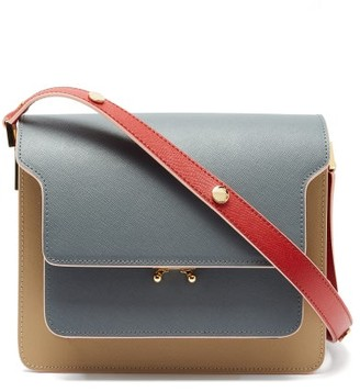 Marni Trunk Medium Saffiano-leather Shoulder Bag - Beige Multi