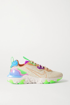 Nike React Vision Mesh, Felt And Faux Leather Sneakers - Beige