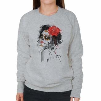 Cloud City 7 Dia De Los Muertos Day of The Dead Women's Sweatshirt Heather Grey