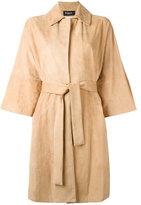 Kiton belted leather coat