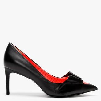 Daniel Eyal Black Leather Neon Flash Court Shoes