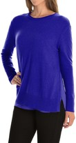 Magaschoni Crew Neck Cashmere Sweater - Side Slits, Silk Lining (For Women)