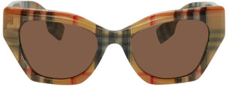 Burberry Beige Check Cat-Eye Sunglasses