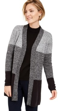 Karen Scott Plus Size Turbo Colorblocked Cardigan Sweater, Created for Macy's