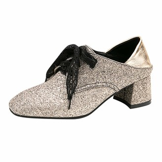TEELONG Fashion Women Glitter Dance Shoes Lace Up Square Heels Shallow Shoes Ladies Mid Low Heel Close Toe Tango Ballroom Latin Performance Practice Shoes Party Wedding Shoes (A-Gold 4.5 UK)
