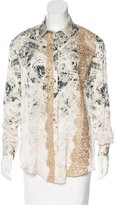 Blumarine Lace-Accented Printed Top